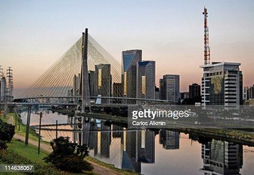 Stayed Bridge and modern Sao Paulo skyline