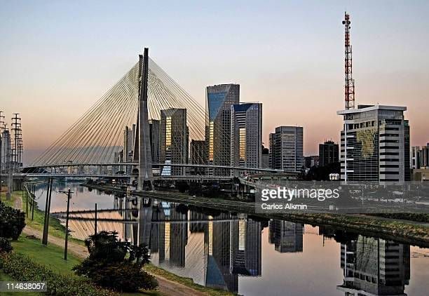 Stayed Bridge and modern Sao Paulo skyline
