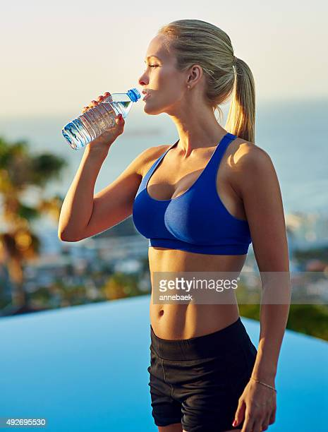 Staying hydrated for her next workout