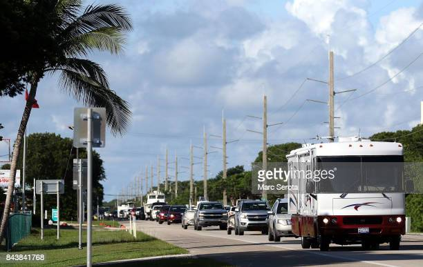 A steady line of cars head north on Overseas Highway as people continue to evaccuate ahead of Hurricane Irma on September 7 2017 in Islamorada...