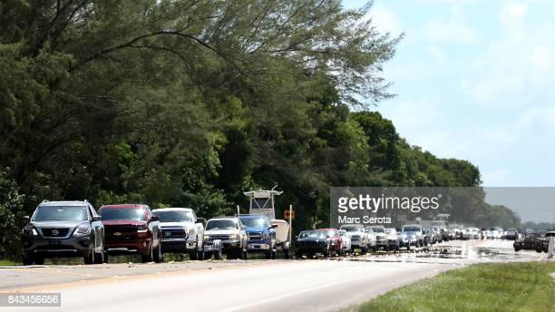 A steady stream of traffic heads North on Overseas Highway as Madetory evacuations continue in Monroe County and the Florida Keys on September 6 2017...
