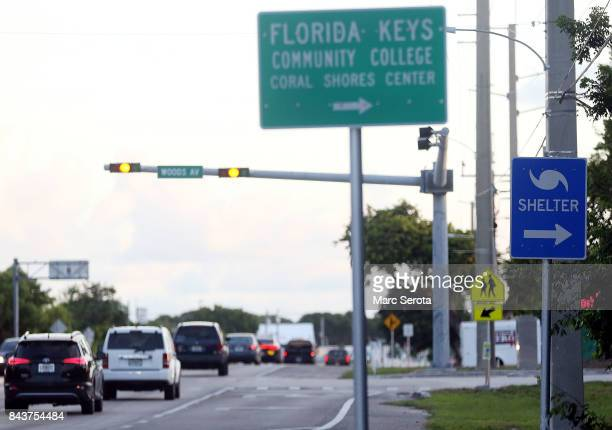 A steady stream of traffic heads North on Overseas Highway as mandetory evacuations continue in Monroe County and the Florida Keys on September 7...