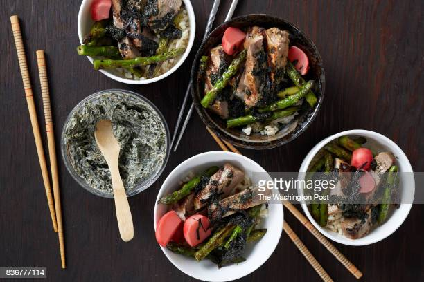 Steak and Asparagus Donburi photographed in Washington DC on Aug 15 2017