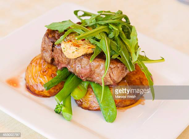 Steak and Potato with Asparagus and Rocket  Salad