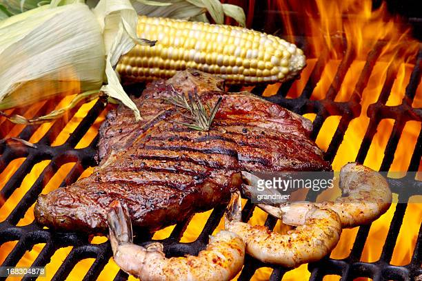 Steak and Shrimp with Corn on the Cob