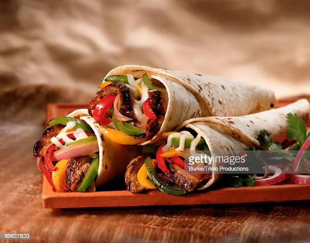 Steak and vegetable fajitas