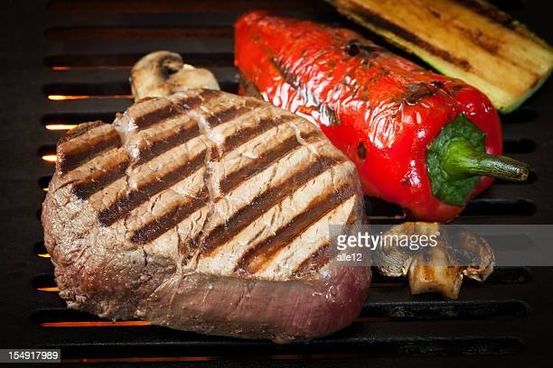 Steak and vegetable on BBQ