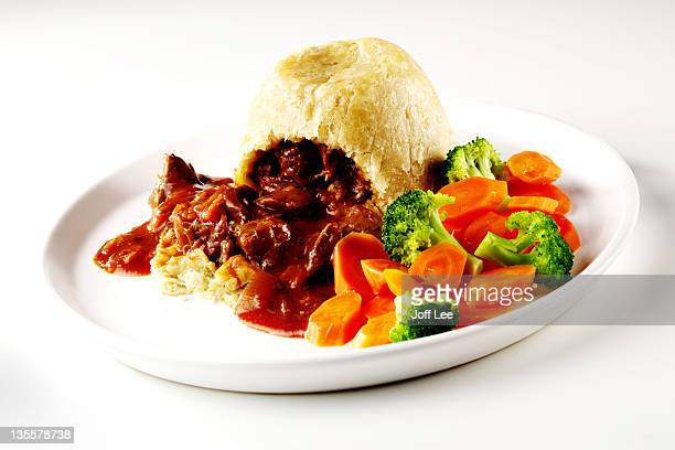 Steak & kidney pudding with vegetables