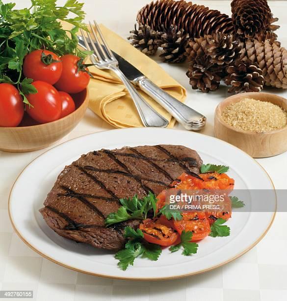Steak marinated in brandy