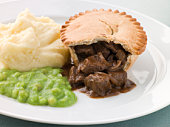 Steak Pie Mash and Mushy Peas