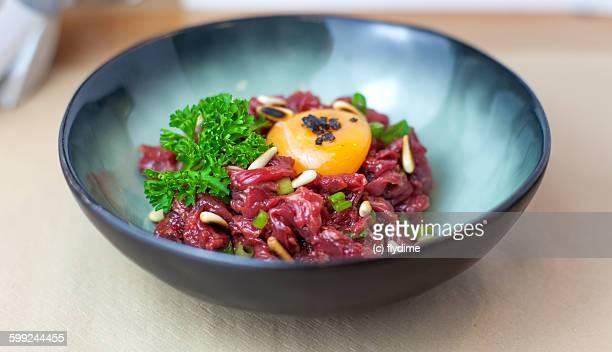 Steak tartare, meat spanish tapas