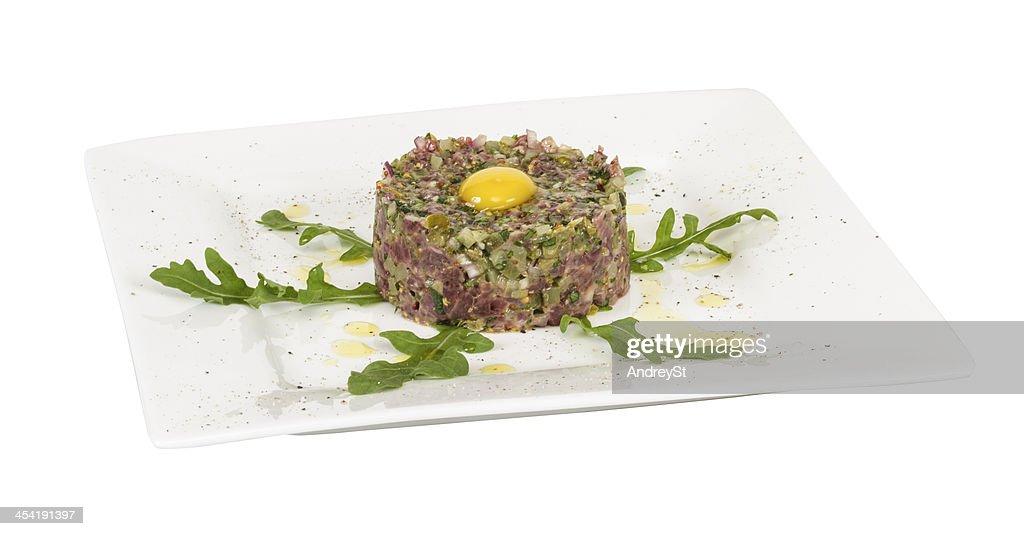 steak tartare with egg : Stock Photo