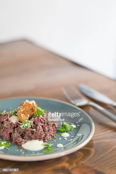 Steak tartare with water cress