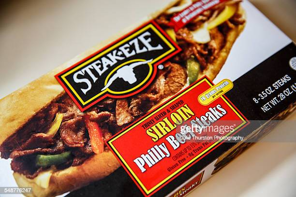 Steakeze ready to bake frozen sirloin Philly beef steaks in packaging ready to cook for lunch or dinner Fast processed food meal thinly sliced meat...
