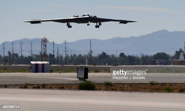 Stealth Bomber comes in for a landing at the Palmdale Aircraft Integration Center of Excellence in Palmdale California on July 17 as the US Air Force...