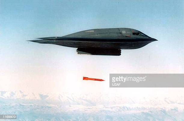 A B2 stealth bomber drops a laser guided bomb during a training run April 17 1998 The USled bombing campaign in Afghanistan is in a third round of...