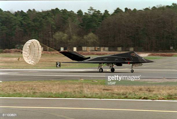 Stealth Fighter Deploys The Landing Parachutte April 4 1999 After Returning From A Mission Flying Against Targets In Yugoslavia To Spangdahlem Air...