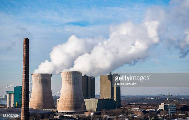 Steam and exhaust rise from the steel power station HKM Huettenwerke Krupp Mannesmann GmbH on a cold winter day on January 6 2017 in Duisburg Germany...