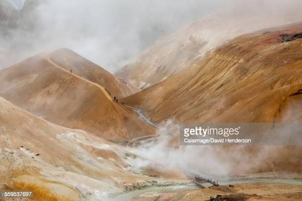 Steam arising from geothermal mountains, Kerlingarfjoll, Iceland