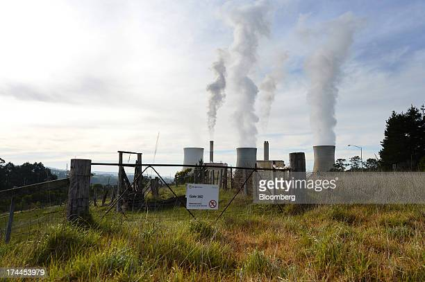 Steam billows from the cooling towers at TRUenergy Holdings Pty's Yallourn coalfired power station in Yallourn Australia on Thursday July 25 2013...