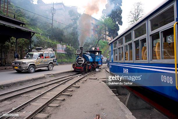 Steam engine of a Toy Train is being run before attaching it to the compartments The Darjeeling Himalayan Railway also known as the 'Toy Train' is a...