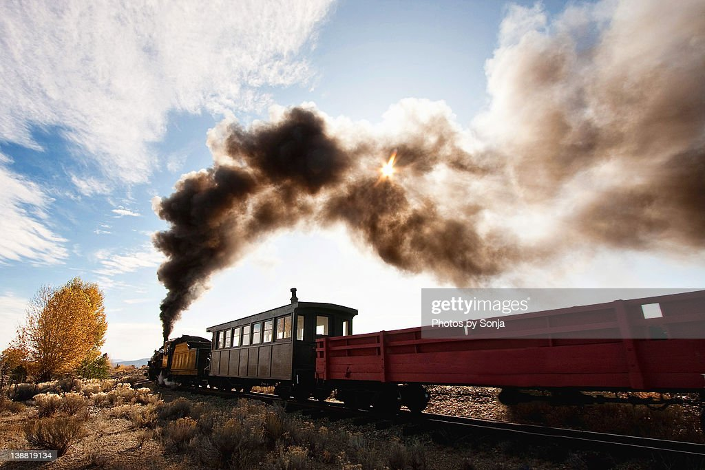 Steam engine pushing forward