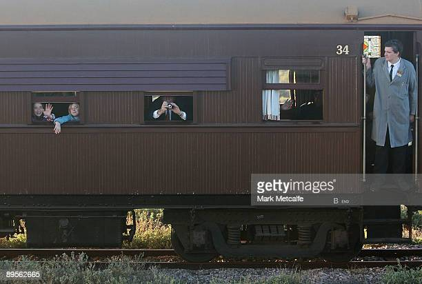 A steam engine train accompanies the Ghan's arrival into Port Augusta on August 2 2009 in Adelaide Australia The commemorative trip from Adelaide to...