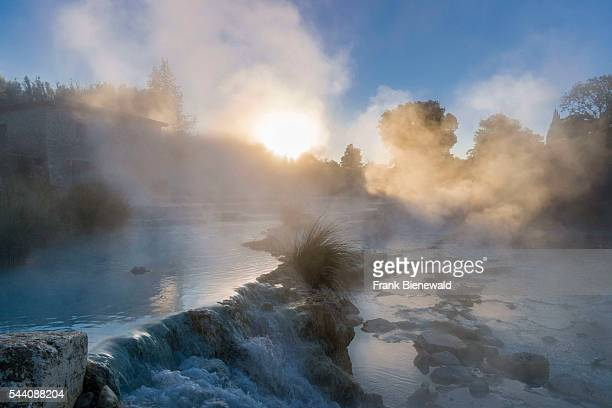 Steam is arising from the hot springs of Saturnia Therme in the morning