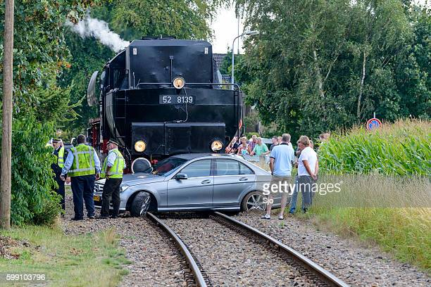 Steam locomotive and Mercedes passenger car accident