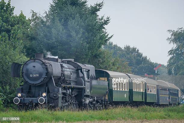 Steam locomotive with railway cars