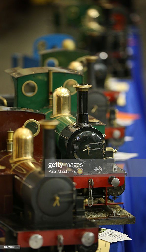 Steam locomotives are displayed at The London Model Engineering Exhibition at Alexandra Palace on January 18, 2013 in London, England. The exhibition features more than a thousand models from over 50 national and regional clubs and societies. A wide range of locomotives, boats and aircraft are on show.