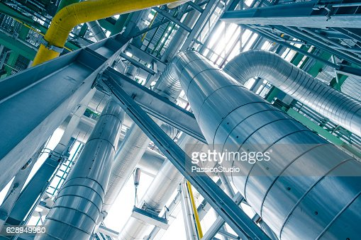 Steam piping with thermal insulation in Boiler of power plant : Foto stock