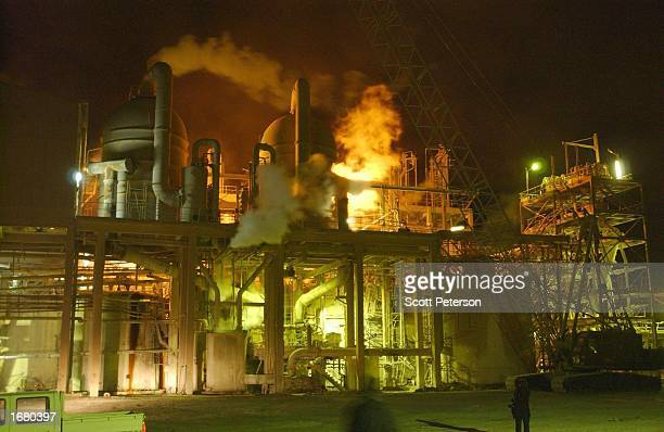 Steam pours from a phosphate factory December 10 2002 near Iraq's border with Syria at Qaim Ukashat UN atomic weapons inspectors visited the plant to...