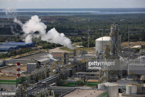 Steam rises from a new ammonia production unit currently under testing at the PhosAgroCherepovets fertilizer plant operated by PhosAgro PJSC in...