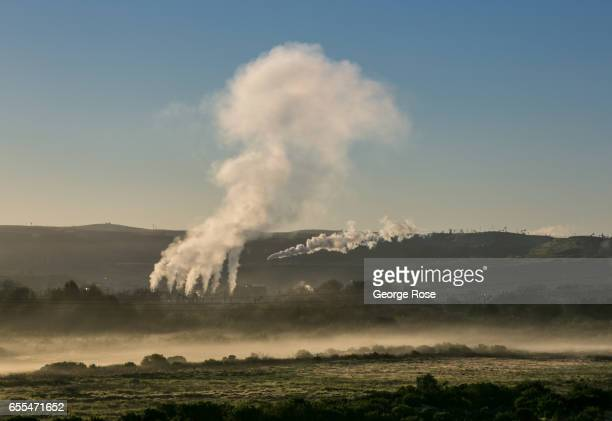 Steam rises from a pipeline located in the middle of one of California's largest steam injection oil fields Chevron's San Ardo Oil Field as viewed on...