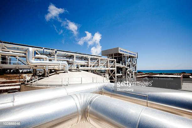 Steam rises from pipes at Enel SpA's combined cycle thermodynamic solar power plant at its inauguration in Priolo Gargallo near Siracusa Italy on...