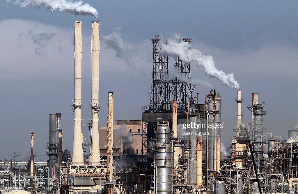 Steam rises from stacks at the ConocoPhillips refinery on January 25 2011 in Rodeo California Gas prices continue to rise and have gone up 14% or $39...