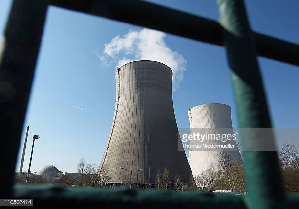 Steam rises from the cooling towers at the Philippsburg nuclear power plant on March 21 2011 near Philippsburg Germany The Philippsburg I reactor is...