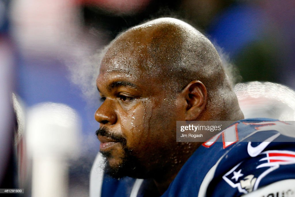 Steam rises from the head of <a gi-track='captionPersonalityLinkClicked' href=/galleries/search?phrase=Vince+Wilfork&family=editorial&specificpeople=226996 ng-click='$event.stopPropagation()'>Vince Wilfork</a> #75 of the New England Patriots in the first half against the Baltimore Ravens during the 2014 AFC Divisional Playoffs game at Gillette Stadium on January 10, 2015 in Foxboro, Massachusetts.