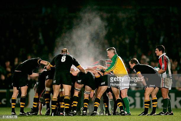 Steam rises from the scrum during the Heineken Cup match between London Wasps and Leicester Tigers on December 5 2004 at the Causeway Stadium in High...
