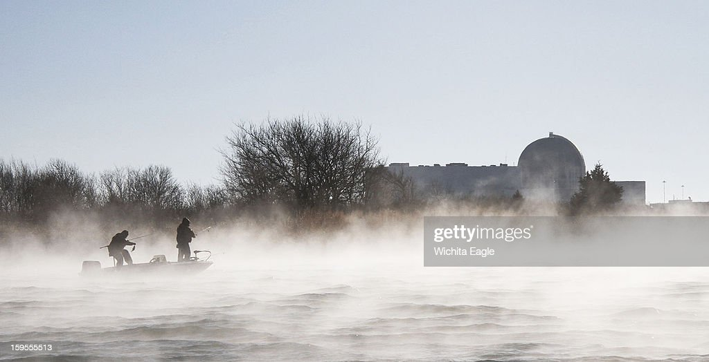 Steam rises from the warm waters created by the Wolf Creek Nuclear Power Plant at Coffey County Lake in Kansas, January 6, 2013.