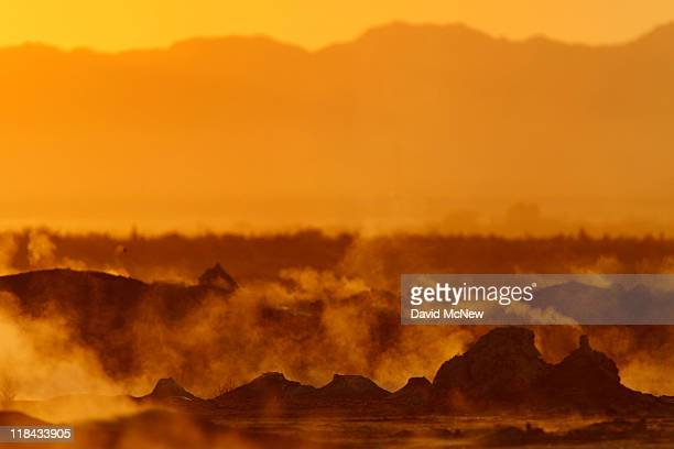 Steam rises from thermal vents that until recently were underwater on the floor of the Salton Sea on July 1 near Calipatria California Scientists...