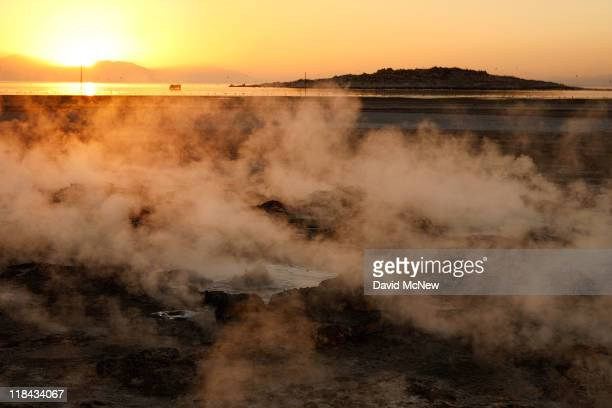 Steam rises from thermal vents that until recently were underwater on the floor of the Salton Sea on June 30 near Calipatria California Scientists...