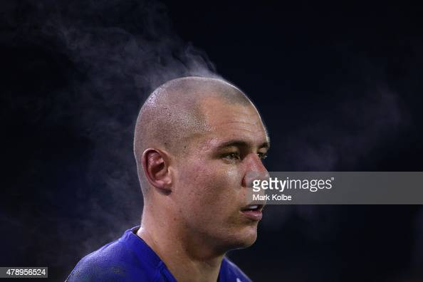 Steam rises off David Klemmer of the Bulldogs as he watches on from the bench during the round 16 NRL match between the Canterbury Bulldogs and the...