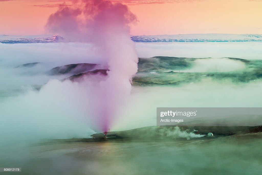 Steam rising from a Geothermal Power Plant.