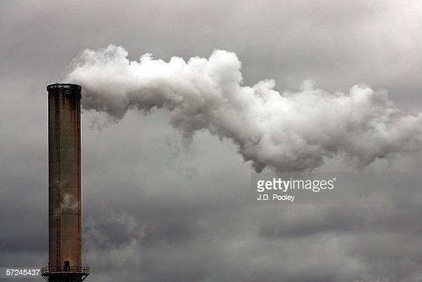 Steam rolls out of a factory's smoke stack near the Delphi Chassis System Needmore Rd Operations factory April 3 in Dayton Ohio Delphi asked a...