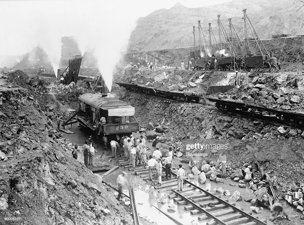 Steam Shovel Trains Excavate the Channel of the Panama Canal