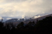 Steam spills from Mt Tongariro after the mountain erupted for the first time in over 100 years on August 8 2012 in Tongariro National Park New...