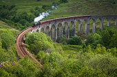 White smoke puffing evocatively from a historic steam train thundering across the iconic arches of the Glenfinnan Viaduct over a green mountain glen deep in the Highlands of Scotland, UK. ProPhoto RGB