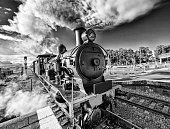 Steam train in black and white